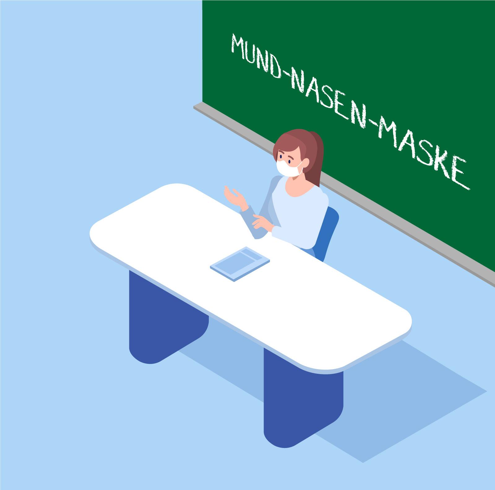 Spuckschutz Lehrer Maske