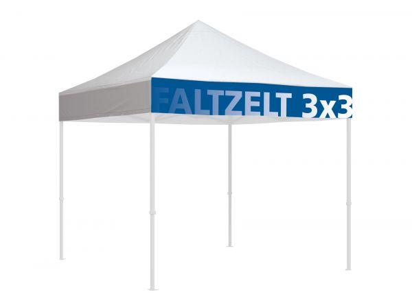 Faltzelt Dach Polyester B1 mit Bordürendruck 3x3m