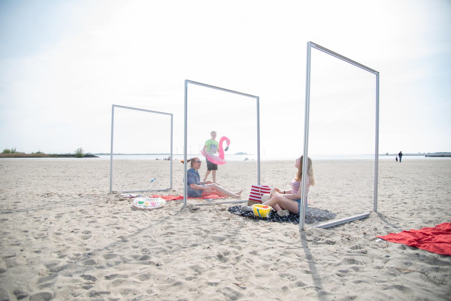 Spuckschutz Aluminiumrahmen Strand
