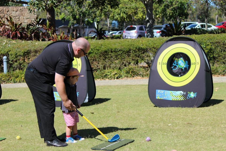 Golfspieler-Zielscheibe-Mobile-Werbebande-Quickboard