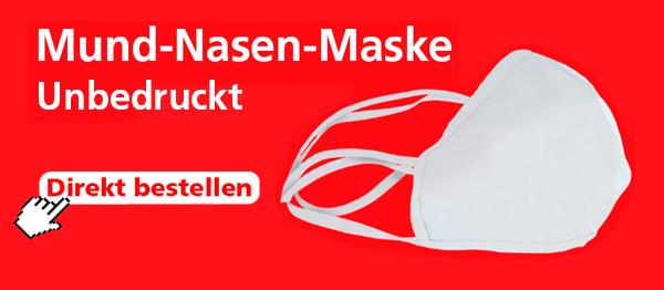 Mund-Nasen-Maske wiederverwendbar unbedruckt