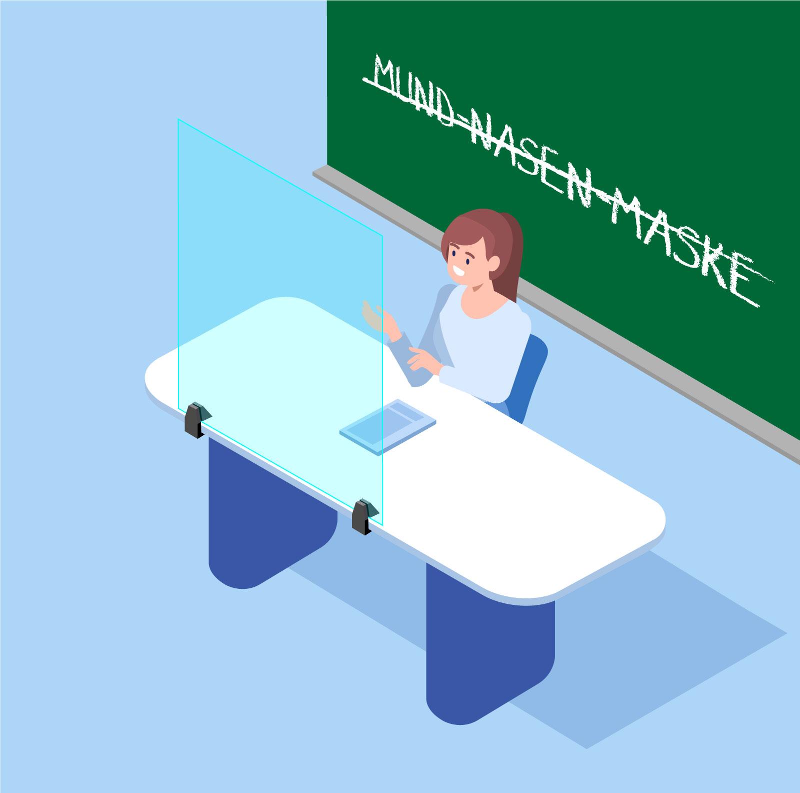 Spuckschutz Lehrer ohne Maske